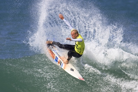 2008 ASP Australasian Pro Junior champion Stuart Kennedy (Lennox Head, NSW) was in stellar form this morning at Jan Juc posting the highest single wave and total heat score. photo: Michael Tyrpenou/ ASP Australasia