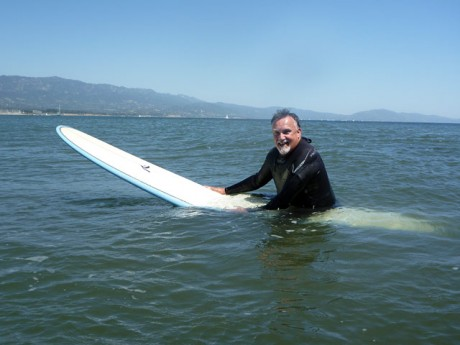 The famous Roberto turns on the 100 watt grin while bobbing in the cold waters off Santa Barbara California.