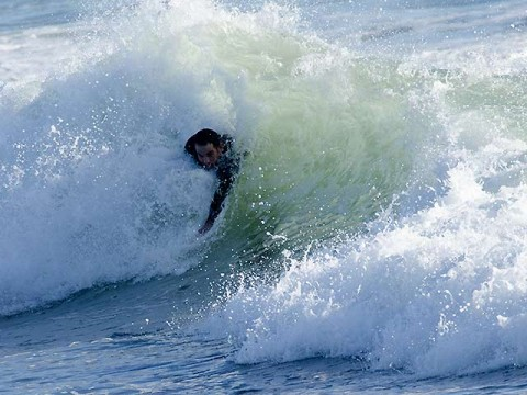 bodyboarder in 12c water